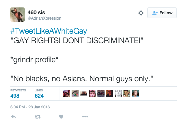Tweet about discrimination Asian Gay